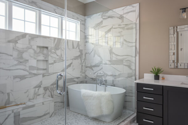 Porcelain tile grey and white shower walls and floor